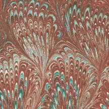 Brown and Aqua Marbeled Feathers Italian Print Paper ~ Carta Fiorentina Italy