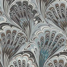 Black and Grey Marbeled Feathers Italian Print Paper with Golden Highlights ~ Carta Fiorentina Italy