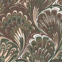 Brown and Tan Marbeled Feathers Italian Print Paper with Golden Highlights ~ Carta Fiorentina Italy
