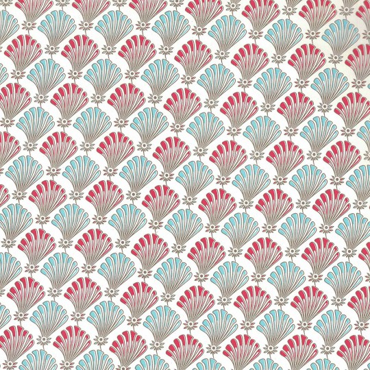 Red and Blue Florentine Shell Print Paper ~ Carta Fiorentina Italy
