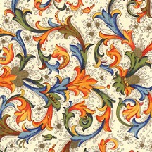 Orange and Blue Florentine Scrolls Italian Print Paper ~ Carta Fiorentina Italy