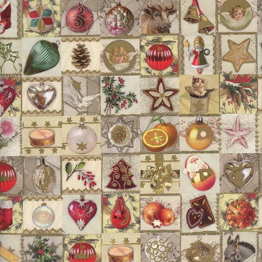 Christmas Ornaments and Fruit Collage Paper Specialty Paper ~ Germany