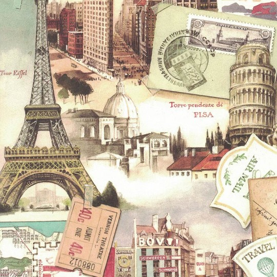 Euro Traveling Collage Print Paper ~ Bomo Art Budapest Hungary