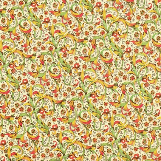 Floral and Leaf Florentine Print Paper ~ Kartos Italy