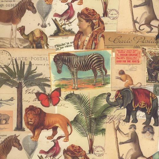 Jungle collage wild animal print paper kartos italy for Classic jungle house for small animals