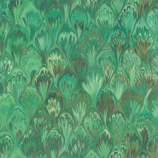 Green Marbeled Feathers Print Paper ~ Kartos Italy