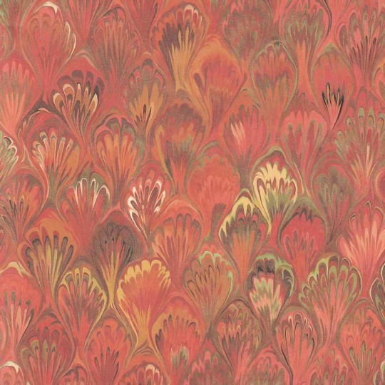 Red Marbeled Feathers Print Paper ~ Kartos Italy