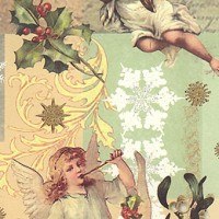 Pastel Angels and Mistletoe Christmas Paper ~ Kartos Italy