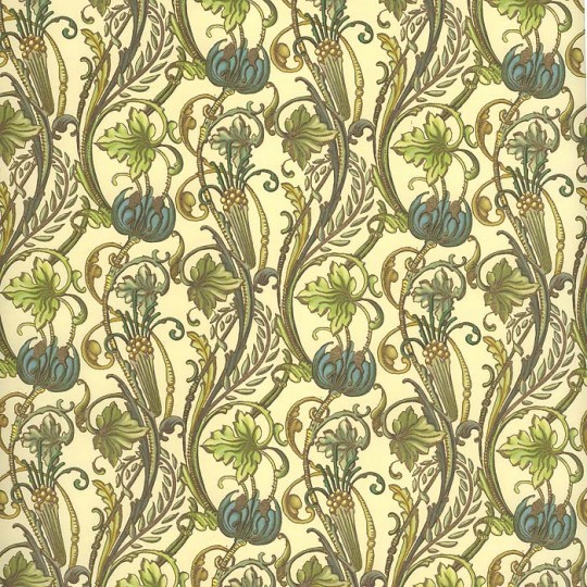 Blossom and Vine Floral Print Paper in Greens ~ Kartos Italy