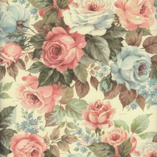 Blue and PInk Cabbage Roses Italian Paper ~ Kartos Italy