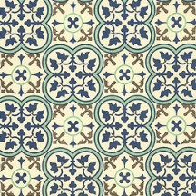 Fancy Blue Italian Floral Tile Print Paper ~ Kartos Italy