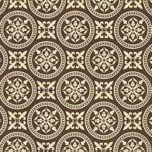 Brown and Ivory Italian Floral Tile Print Paper ~ Kartos Italy