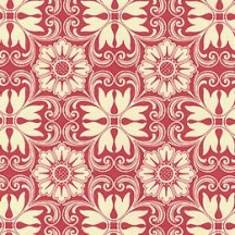 Red and Ivory Italian Floral Tile Print Paper ~ Kartos Italy