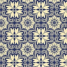 Blue and Ivory Italian Floral Tile Print Paper ~ Kartos Italy
