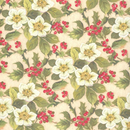 Holly and Rose Christmas Paper ~ Kartos Italy
