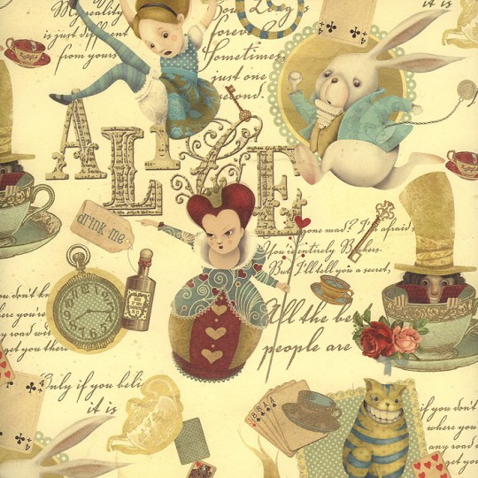 Alice in Wonderland Collage Italian Paper ~ Kartos Italy