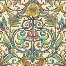 Scrolled Lily and Vine Florentine Print Paper ~ Kartos Italy