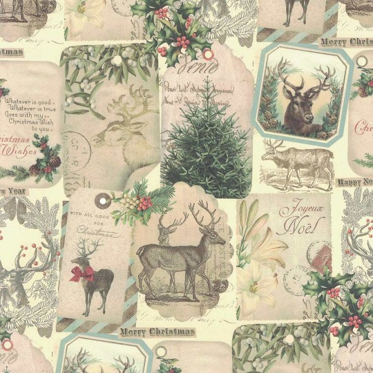 Reindeer and Greenery Christmas Collage Print Paper ~ Kartos Italy