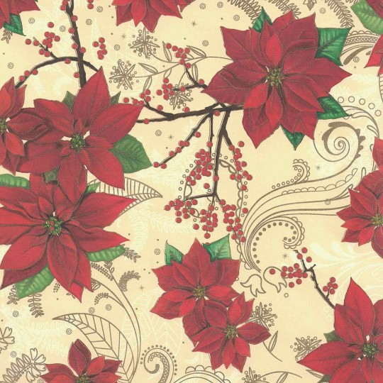 Poinsettia and Berry Christmas Paper ~ Kartos Italy