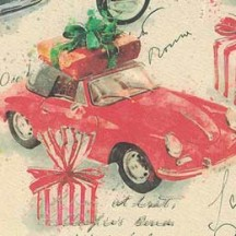 Red Cars and Gifts Christmas Paper ~ Kartos Italy