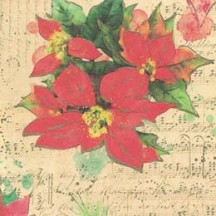 Poinsettia and Music Christmas Collage Paper ~ Kartos Italy