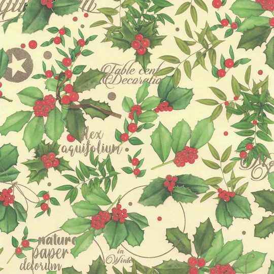 Holly Berries and Leaves Christmas Paper ~ Kartos Italy