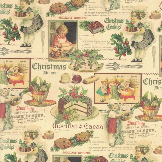Old Fashioned Christmas Dinner Collage Paper ~ Kartos Italy