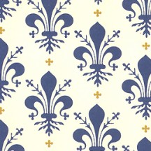 Blue Fleur de Lis Print Italian Paper ~ Leonardo Communication
