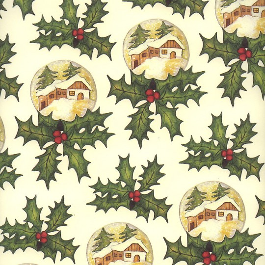 Cottage and Holly Christmas Print Italian Paper ~ Leonardo Communication