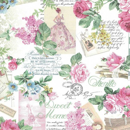Roses and Ephemera Collage Paper ~ Italy