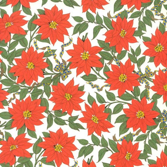 Poinsettia Florentine Holiday Print Paper ~ Rossi Italy