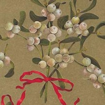Christmas Mistletoe Golden Holiday Print Paper ~ Rossi Italy