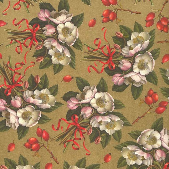 Christmas Roses Florentine Holiday Print Paper ~ Rossi Italy