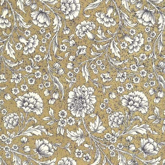 Golden Chrysanthemums Floral Print Paper ~ Rossi Italy