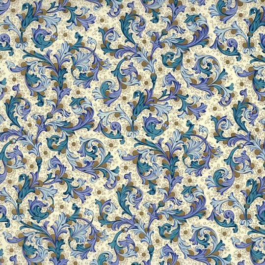 Traditional Florentine Print Paper in Blues ~ Rossi Italy