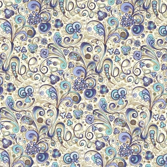 Swirlled Floral Florentine Print Paper in Blues ~ Rossi Italy ~ 2013