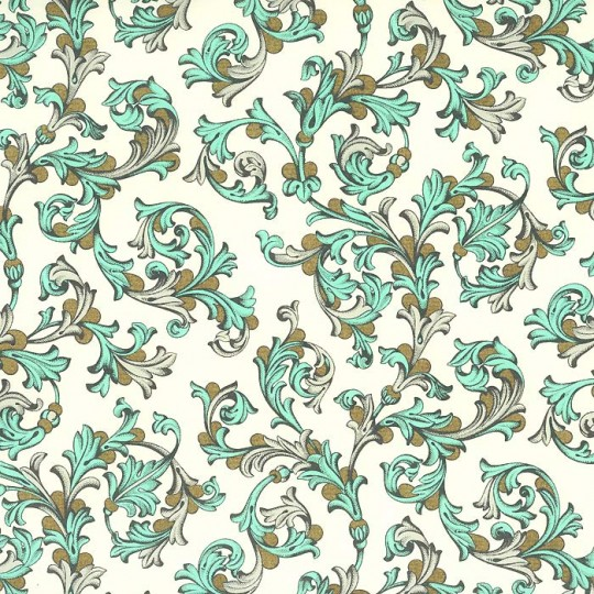 Aqua and Grey Traditional Florentine Print Paper ~ Rossi Italy ~ 2013