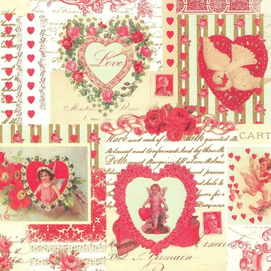 Vintage Valentine Collage Print Paper ~ Rossi Italy ~ 2013