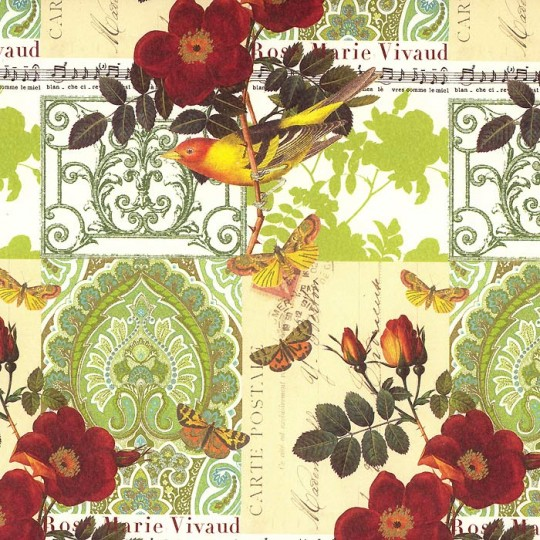 Bird Butterfly and Music Collage Print Paper ~ Rossi Italy ~ 2013