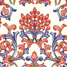 Blue and Coral Floral Florentine Print Paper ~ Rossi Italy ~ 2013