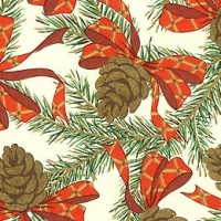 Pine Cones and Bows Florentine Holiday Print Paper ~ Rossi Italy
