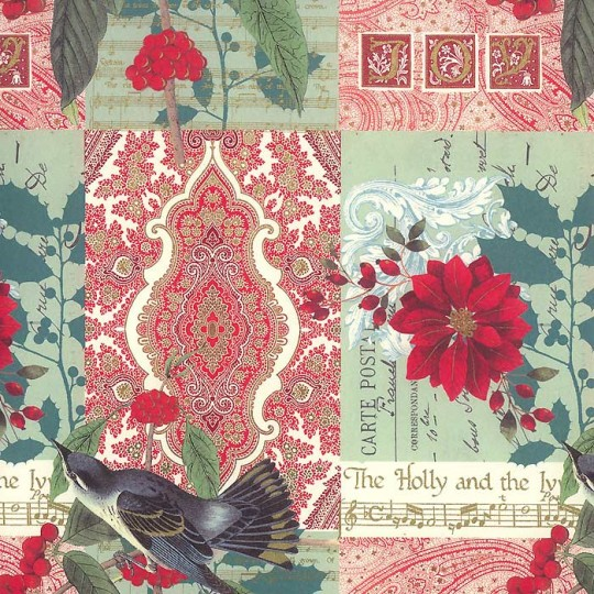 Christmas Birds Damask Collage Print Paper ~ Rossi Italy