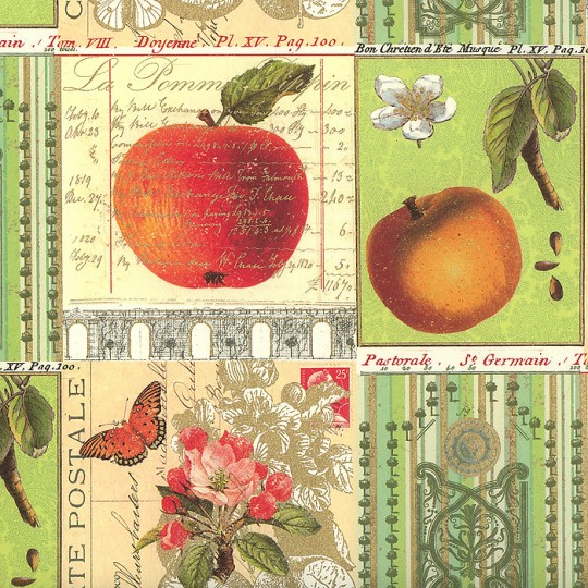 Apple and Butterfly Collage Print Paper ~ Rossi Italy