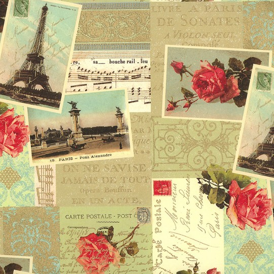 Paris Rose Collage Print Paper ~ Rossi Italy