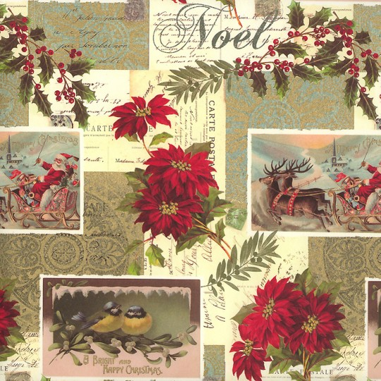 Poinsettia Christmas Collage Print Paper ~ Rossi Italy
