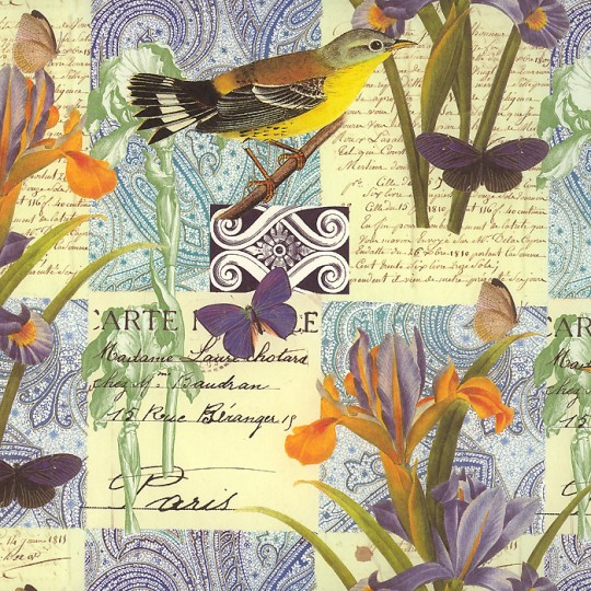 Yellow and Purple Bird and Iris Collage Print Paper ~ Rossi Italy