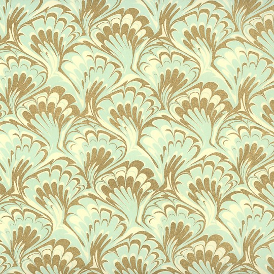 Aqua and Gold Marbelized Print Paper ~ Rossi Italy ~ 2014