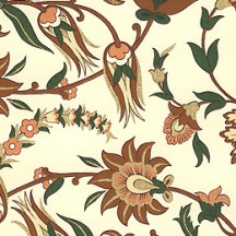 Brown and Green Jacobean Floral Print Paper ~ Rossi Italy ~ 2014
