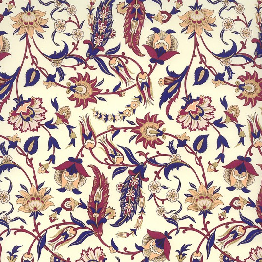 Blue and Fuchsia Jacobean Floral Print Paper ~ Rossi Italy ~ 2014