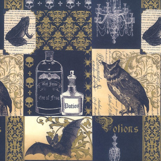 Black and Gold Halloween Print Paper ~ Rossi Italy